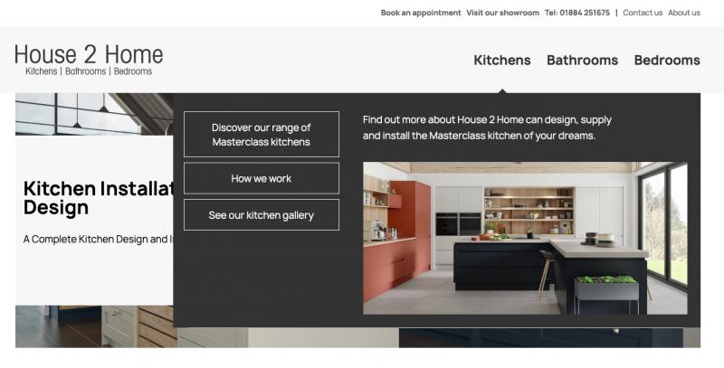 home improvement site mega menu